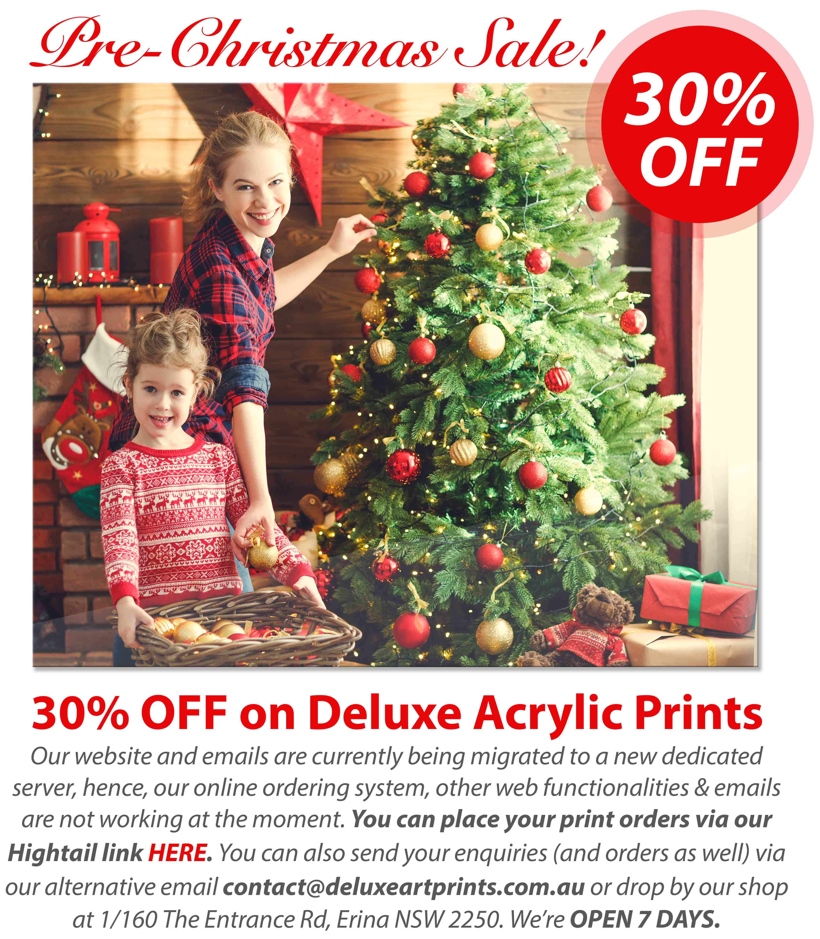 Deluxe Art CHRISTMAS SALE Acrylic Print Nov19 with notes
