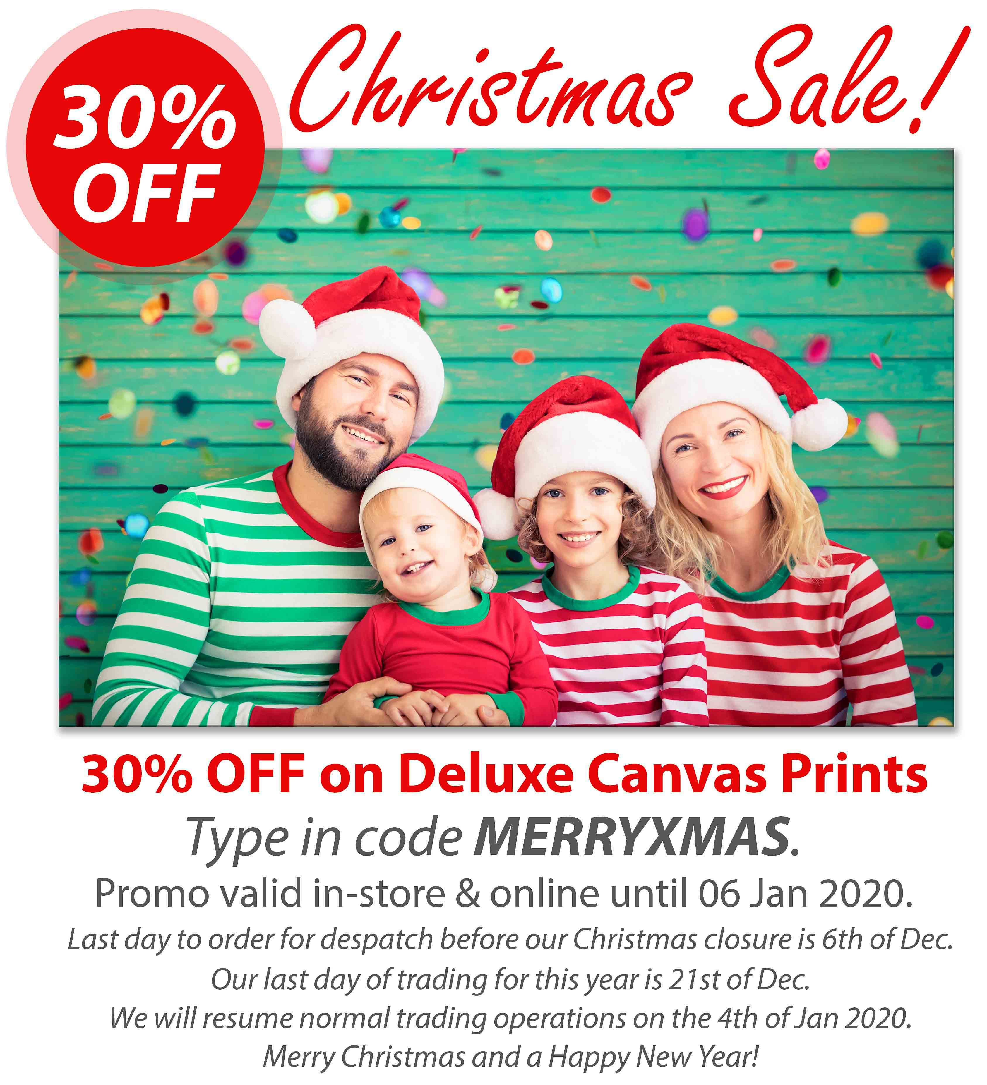 Deluxe Art Christmas SALE 2019 Canvas Print