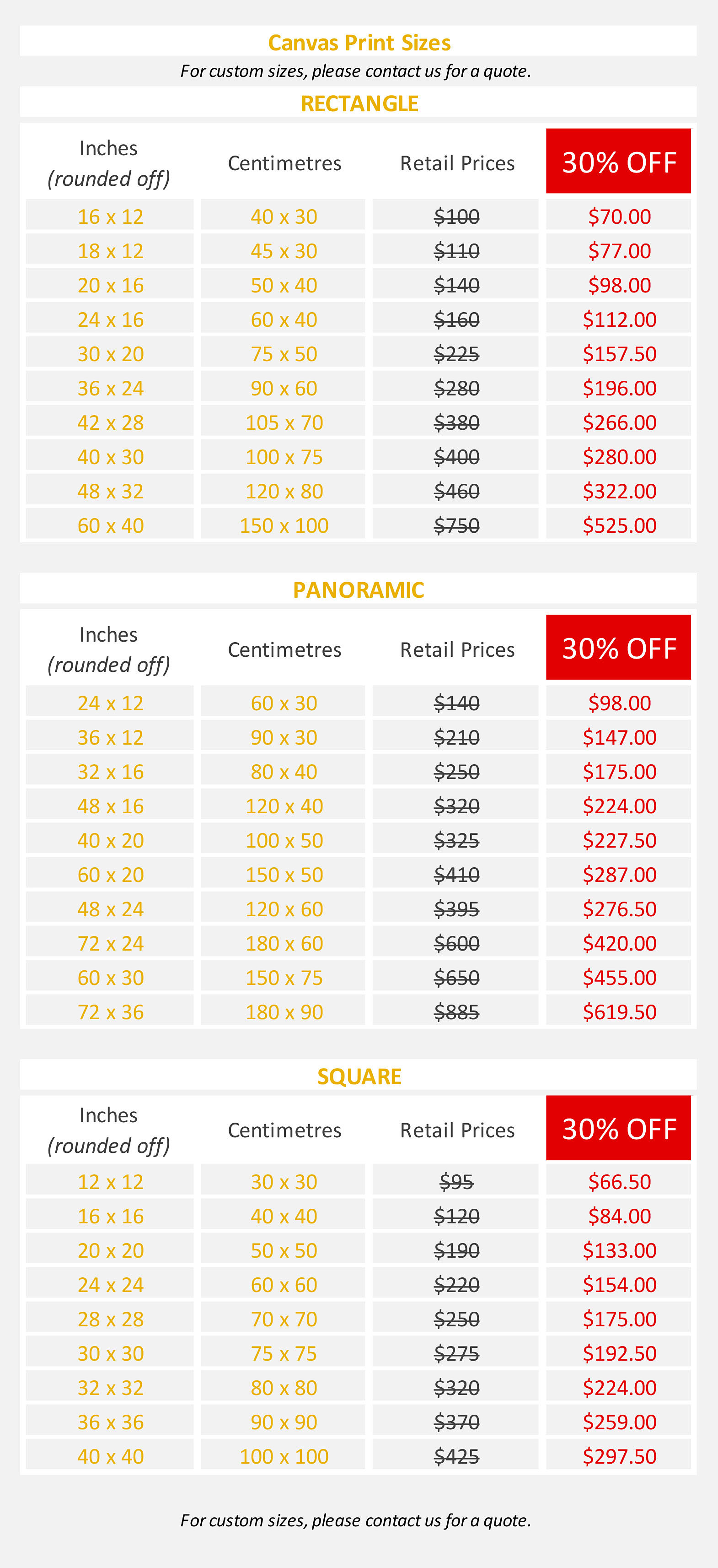 Deluxe Art EOFY SALE 04Jun19 Canvas Print Prices.v2