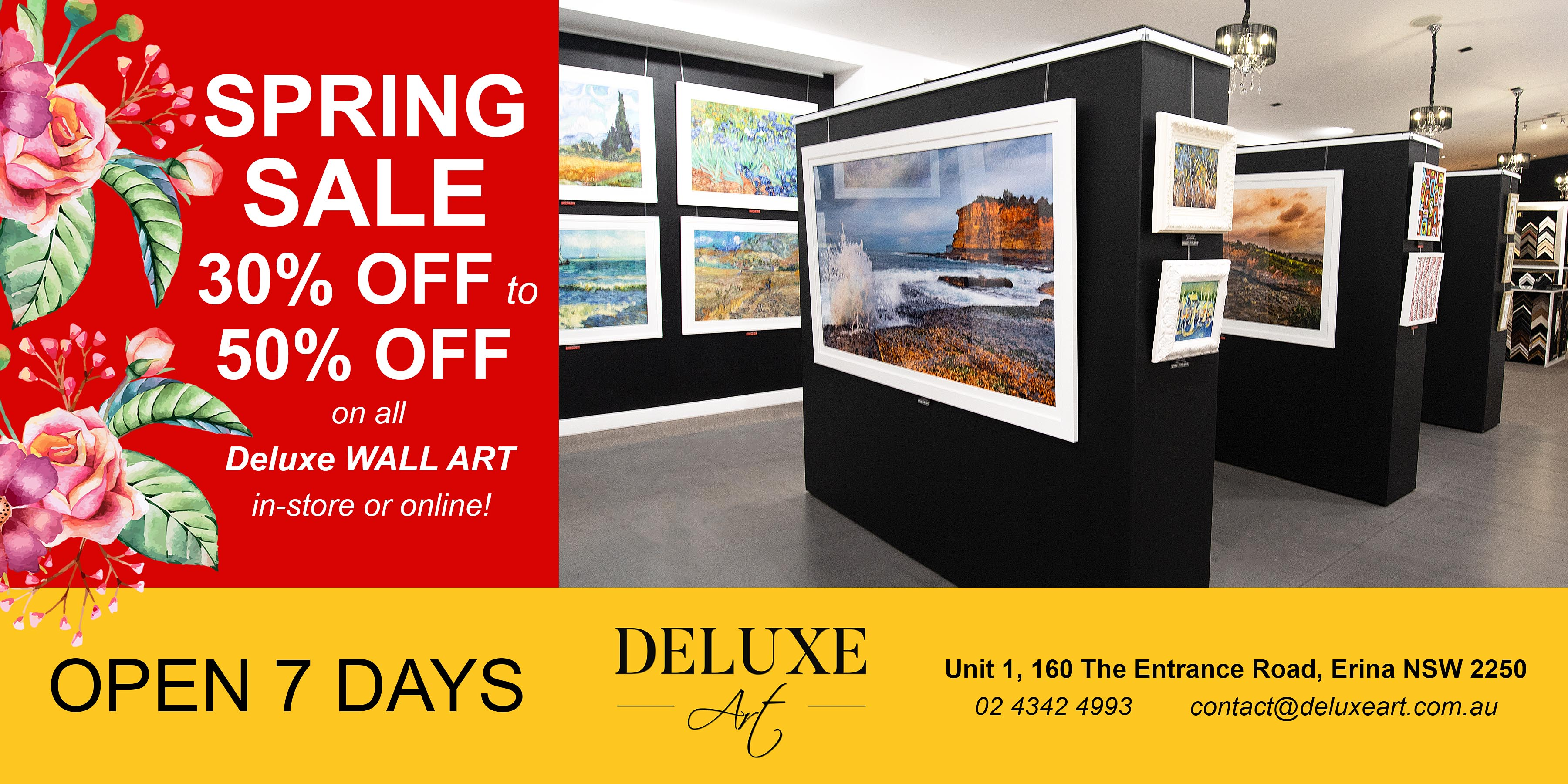 Deluxe Art Wall Art Gallery Central Coast SPRING SALE 12Sep19.v2