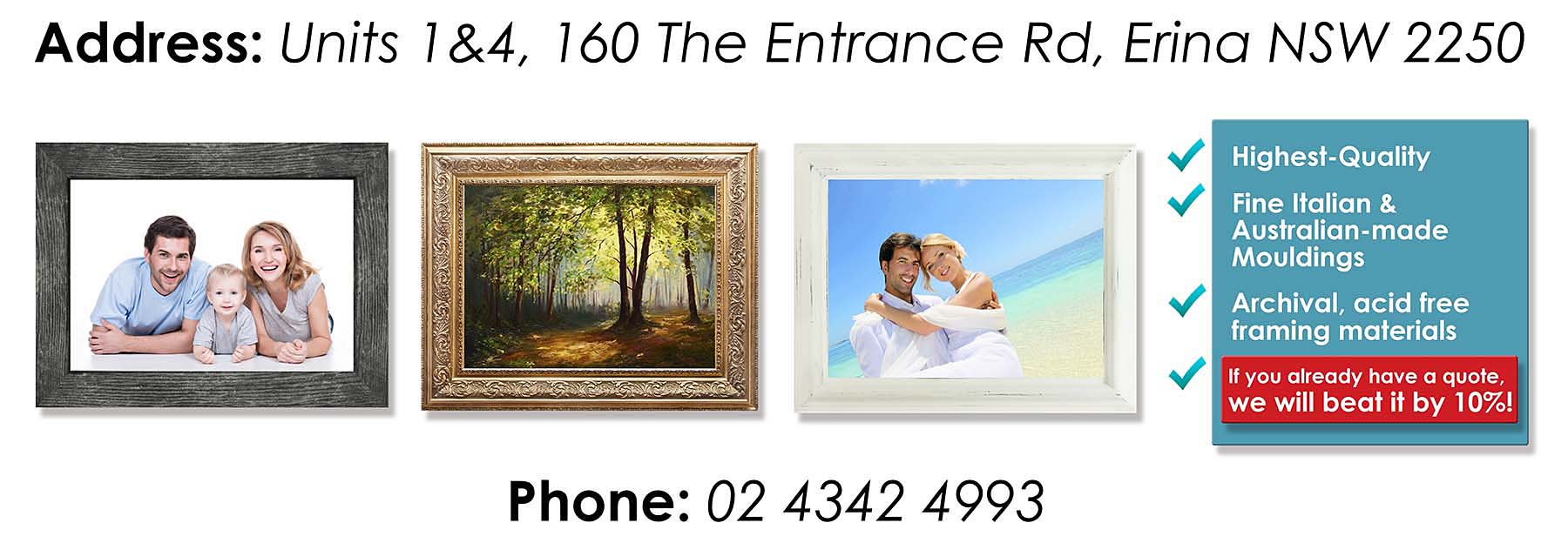 Custom Picture Framing Central Coast Erina Gosford